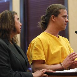 Dylan Stanley Dougherty, 27, pleads for a lighter sentence as he stands with his attorney Cobea Becker, left, in district court where he was sentenced to 32 years in prison on charges stemming from the shootout and capture of him and his brother and sister in Colorado in Walsenburg, Colo., on Monday, April 30, 2012.  All three siblings were sentenced on Monday. Dougherty's sister Lee Grace Dougherty received a 24-year prison term, while his brother Ryan Dougherty, 22, was sentenced to 18 years in prison. The three are accused of shooting at a police officer and staging a daring bank robbery in a cross-country crime spree that included Georgia and Florida. The manhunt for them ended after an Aug. 10 freeway chase and shootout with police in southern Colorado.