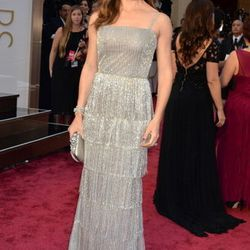 Jennifer Garner went with the fringe in a silver tulle tiered gown with bead embroidery from Oscar de la Renta. Find it at Wynn Las Vegas.