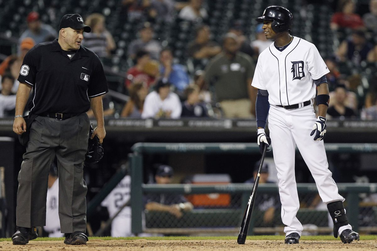 Austin Jackson looks to home plate umpire Eric Cooper after being called out on a strike to end a loss to the Royals on June 16, 2014