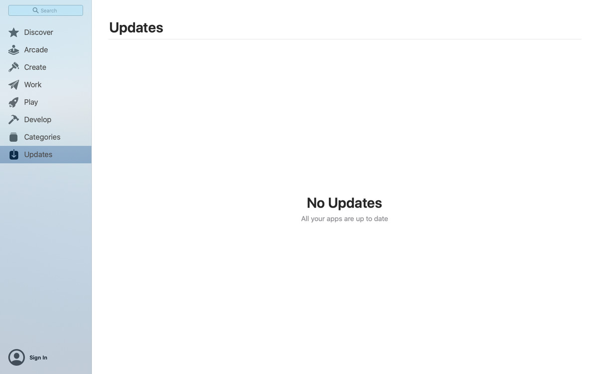 App Store Updates page