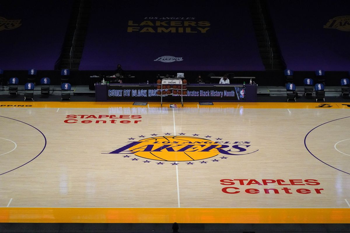 A general view of the Los Angeles Lakers logo at center court at Staples Center.