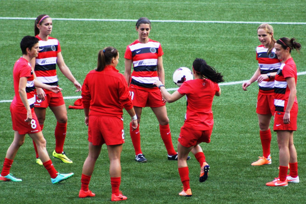 Sullivan (center, back) warming up prior to last Saturday's match against Sky Blue FC