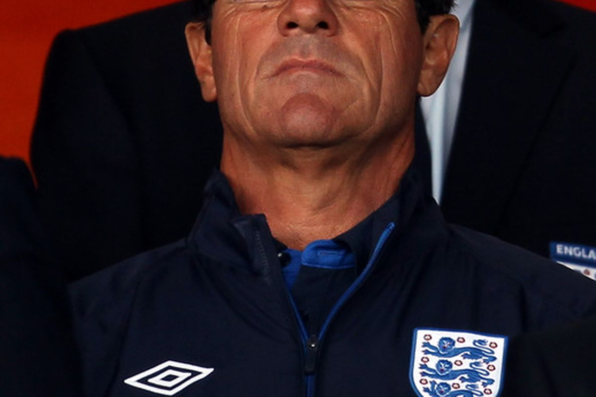 BRISTOL ENGLAND - AUGUST 10:  England Manager Fabio Capello attends the International Friendly between England U21 and Uzbekistan U21 at Ashton Gate on August 10 2010 in Bristol England.  (Photo by Bryn Lennon/Getty Images)