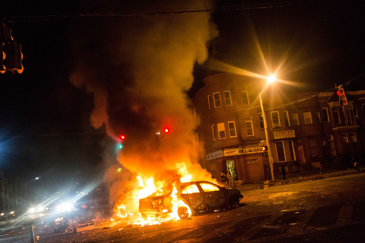 Cars Burn During The Baltimore Riots Andrew Burton Getty Images