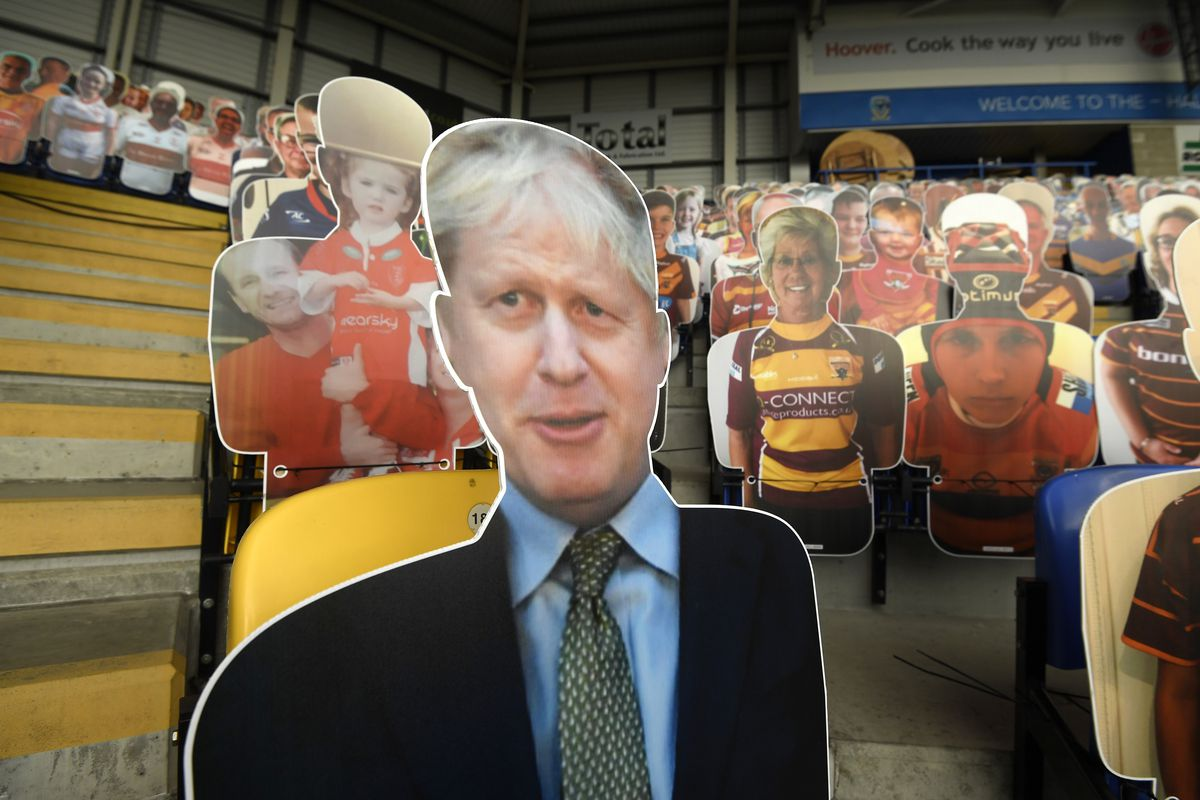 A cardboard cut out of Boris Johnson, Prime Minister of the United Kingdom ahead of the Betfred Super League match between Wigan Warriors and Castleford Tigers at The Halliwell Jones Stadium on August 29, 2020 in Warrington, England.