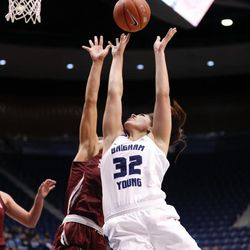 BYU's Kalani Purcell goes in for a layup against Santa Clara's Lori Parkinson in the Cougars' double overtime win, 72-66, over Santa Clara on Thursday, Jan. 26, 2017, at the Marriott Center in Provo.