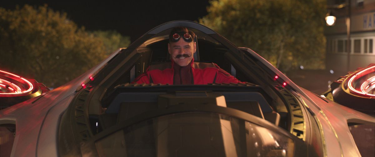 Jim Carrey as Robotnik hovers in his evil plane
