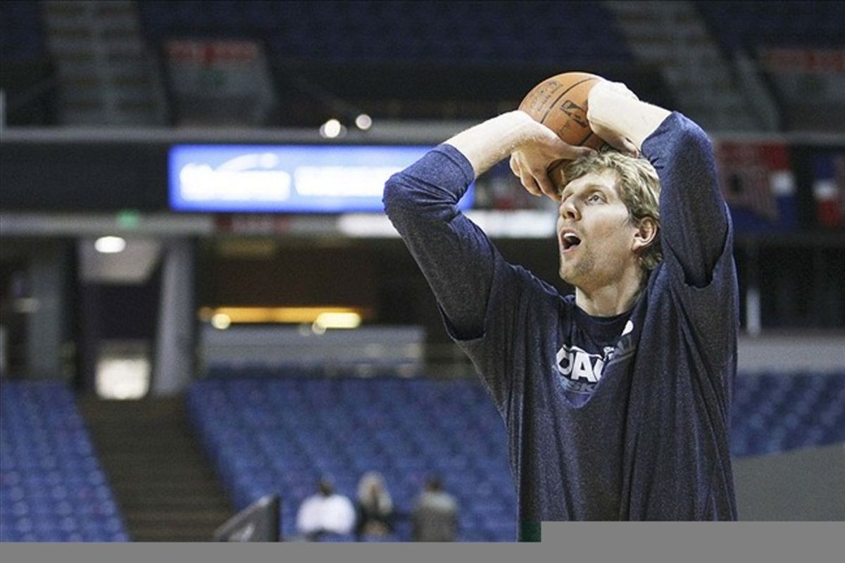 March 09, 2012; Sacramento, CA, USA; Dallas Mavericks power forward Dirk Nowitzki (41) shoots the ball during warms up before the game against the Sacramento Kings at Power Balance Pavilion. Mandatory Credit: Kelley L Cox-US PRESSWIRE