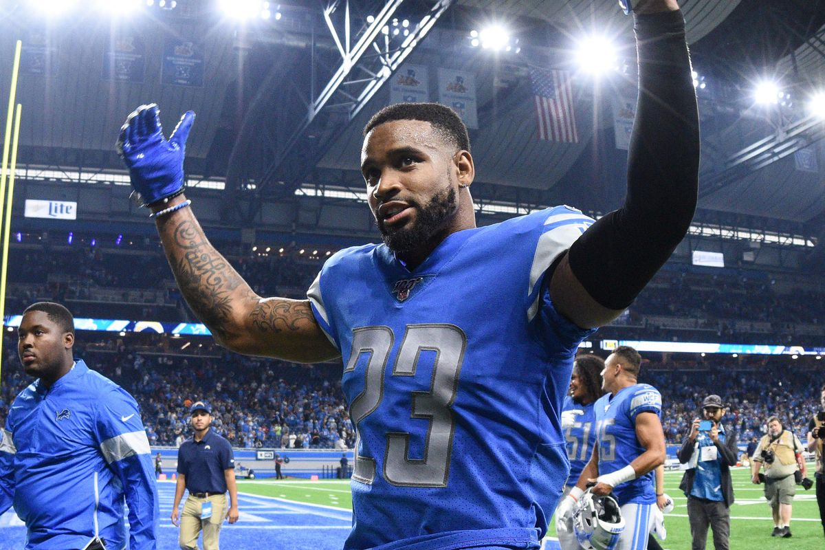 Detroit Lions cornerback Darius Slay celebrates after the game against the Los Angeles Chargers at Ford Field.