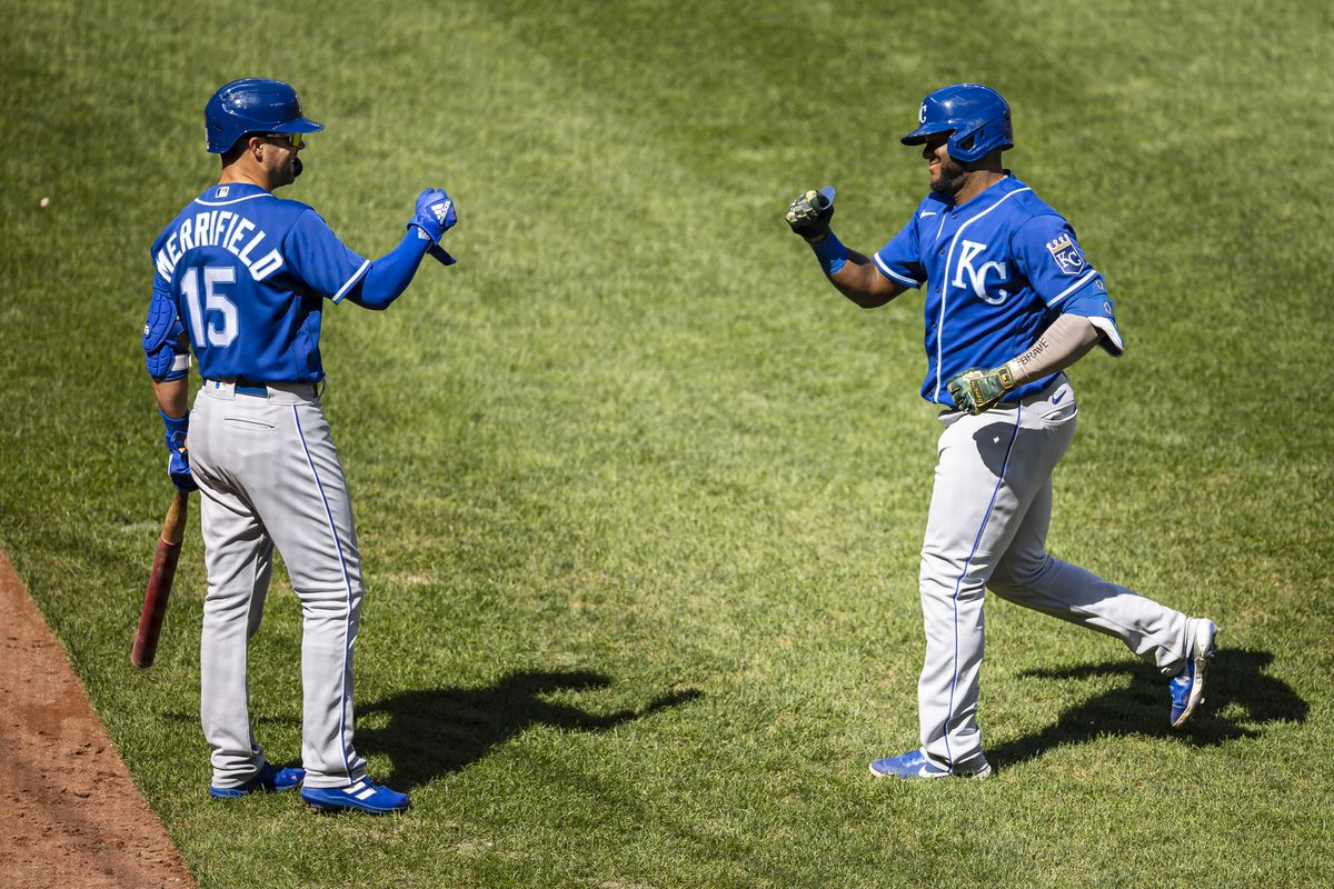 Kansas City Royals third baseman Hanser Alberto (49) celebrates with second baseman Whit Merrifield (15) after hitting a home run against the Baltimore Orioles during the fifth inning at Oriole Park at Camden Yards.