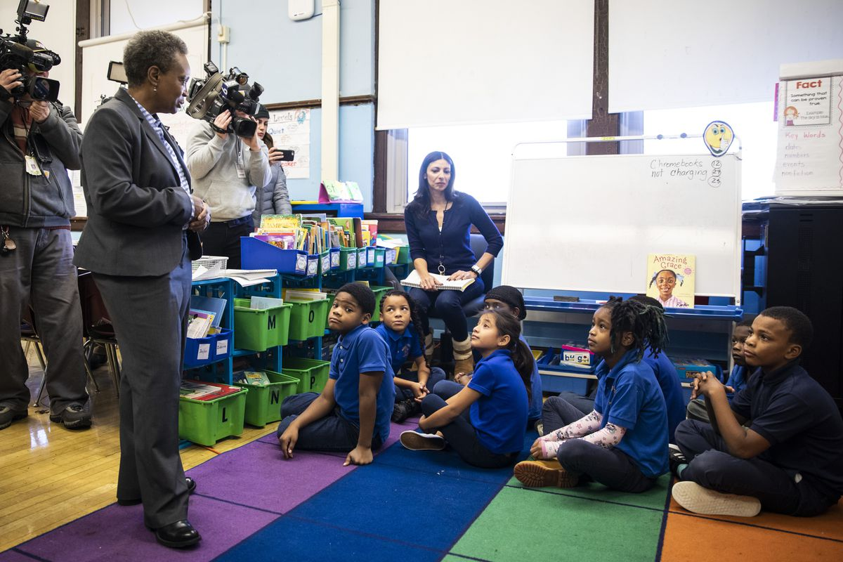 Mayor Lori Lightfoot visits a second grade class at Roswell B. Mason Elementary School on the Southwest Side on the first day back to class after a Chicago Teachers Union strike closed schools for 11 days, on Nov. 1, 2019.