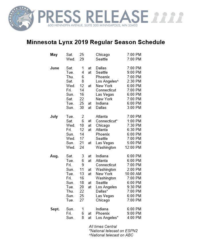 Minnesota Lynx Wnba Release 2019 Schedule Canis Hoopus
