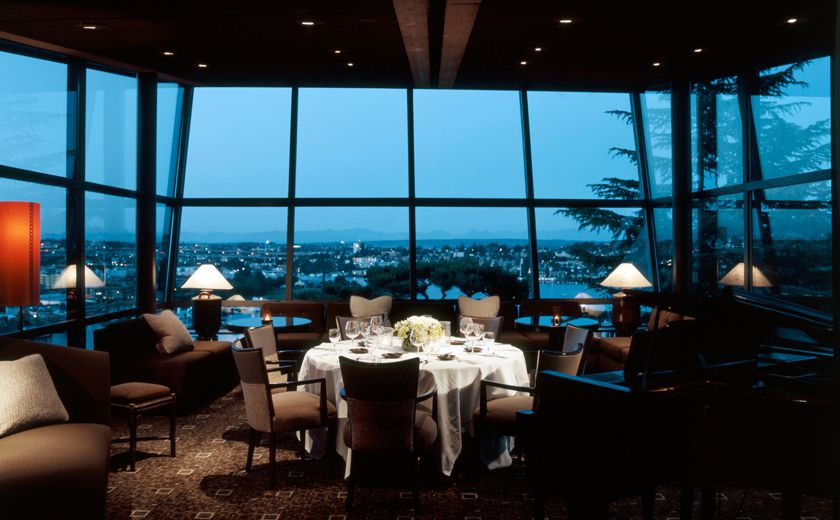 The dining room at Canlis, looking out toward the cantilevered windows that overlook Queen Anne Hill.