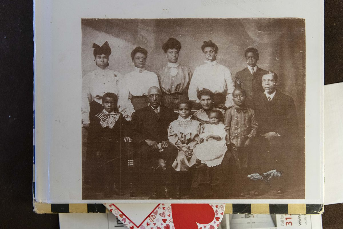 Edith Renfrow Smith's grandfather, George Craig (seated at left center), with her grandmother, Eliza Jane Craig, and their family. The Craigs were born into slavery.