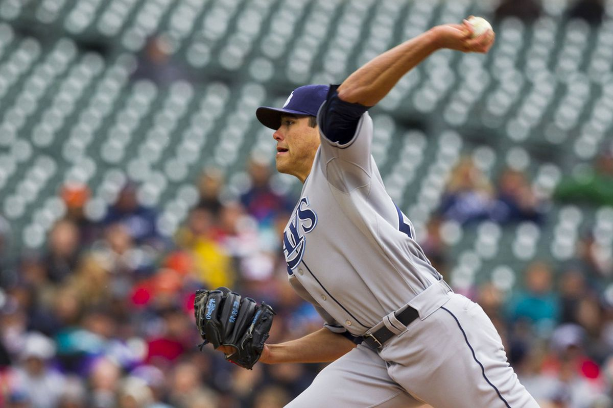 April 10, 2012; Detroit, MI, USA; Tampa Bay Rays starting pitcher Matt Moore (55) pitches during the second inning against the Detroit Tigers at Comerica Park. Mandatory Credit: Rick Osentoski-US PRESSWIRE