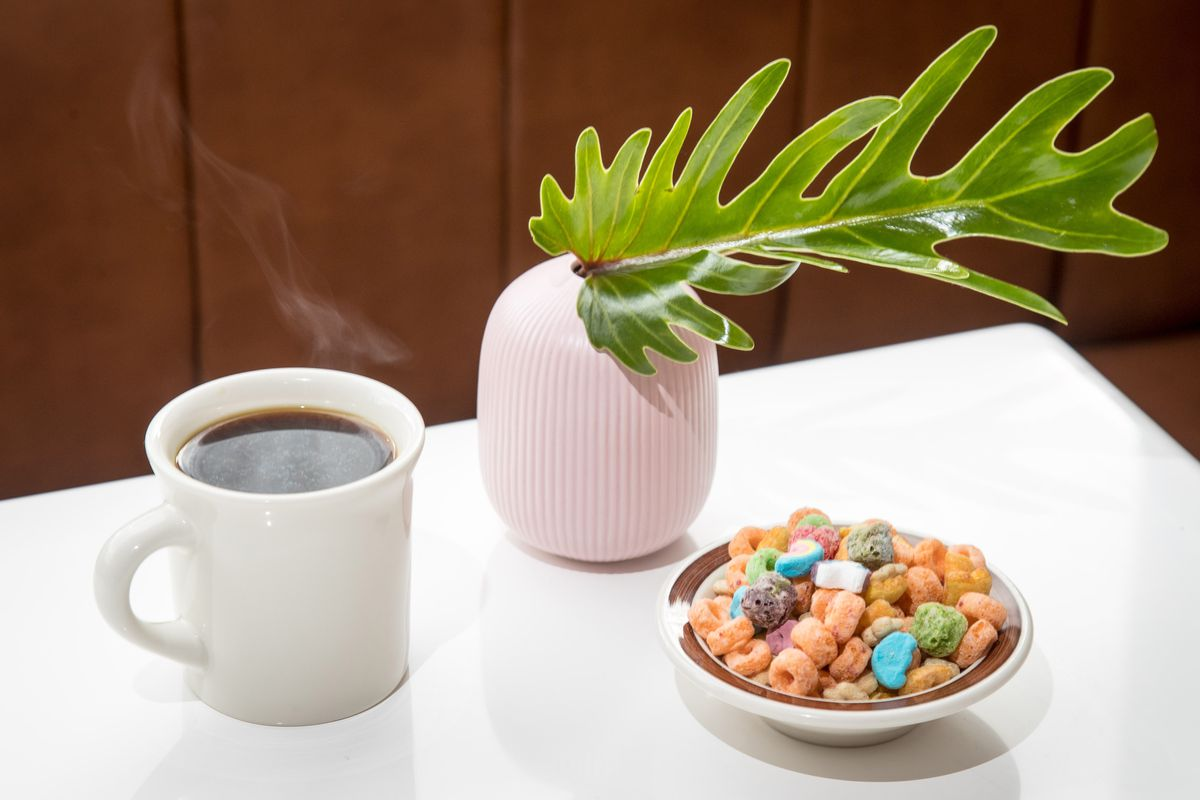 Coffee and cereal at MeMe's