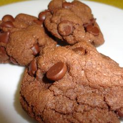 """""""Chocolate Chocolate Chip Cookies"""" from """"Emergency Food Storage in a Nutshell, 3rd edition"""" is one of the many dessert recipes in the cookbook. Even though it calls for dried eggs, the recipe is indistinguishable from other cookie recipes."""