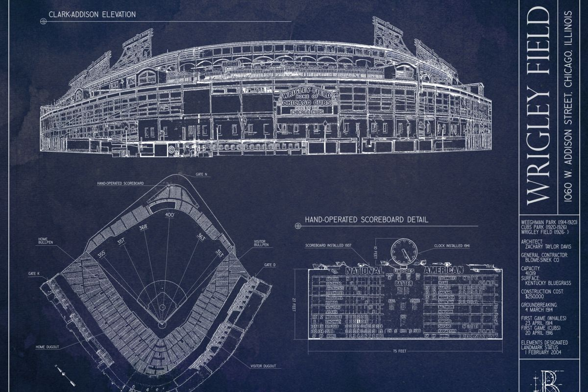 Ballpark blueprints wrigley field bleed cubbie blue courtesy ballpark blueprints malvernweather