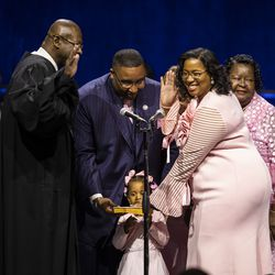 Melissa Conyears-Ervin is sworn in as city Treasurer during the city of Chicago's inauguration ceremony at Wintrust Arena, Monday morning, May 20, 2019.