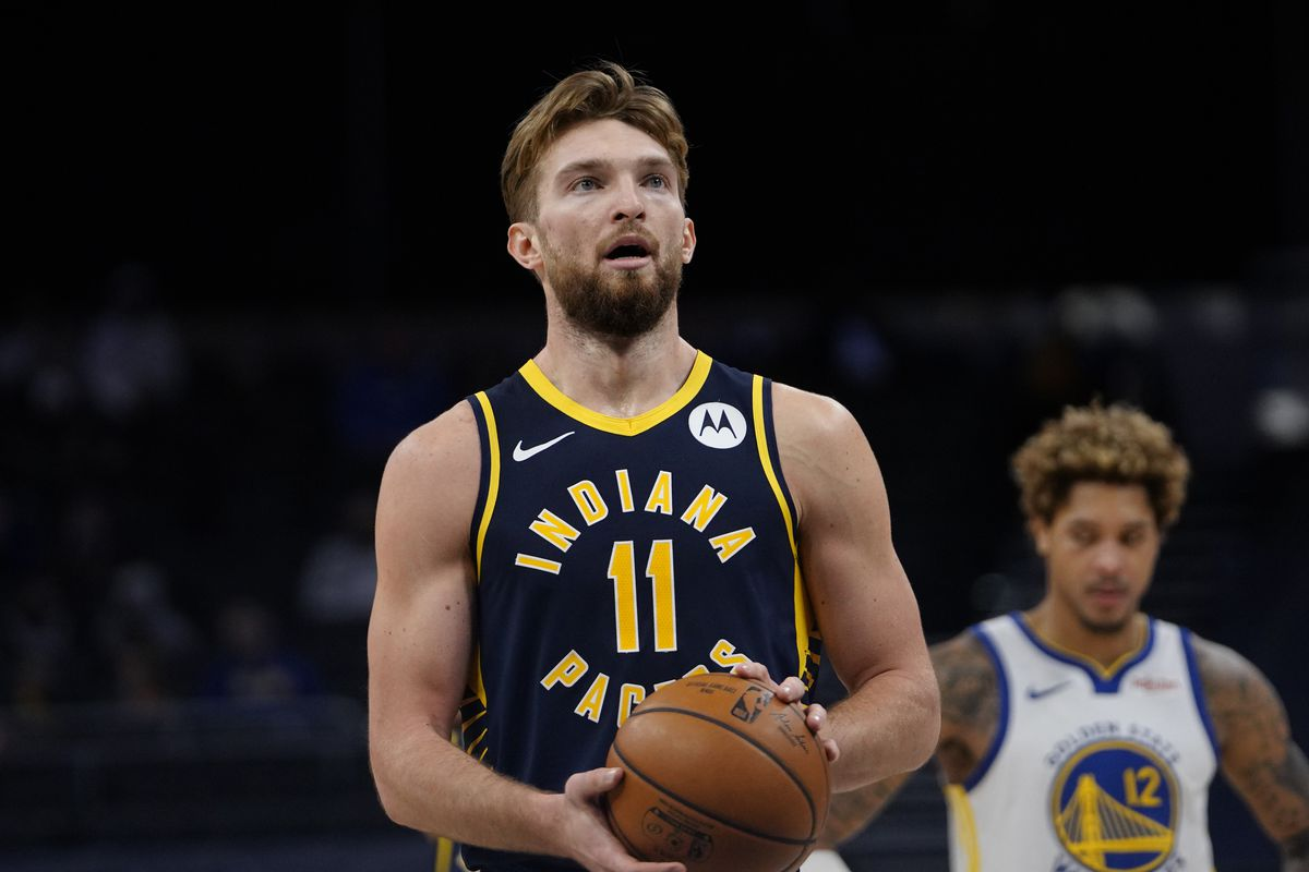Domantas Sabonis of the Indiana Pacers shoots a free throw during the game against the Golden State Warriors on February 24, 2021 at Bankers Life Fieldhouse in Indianapolis, Indiana.