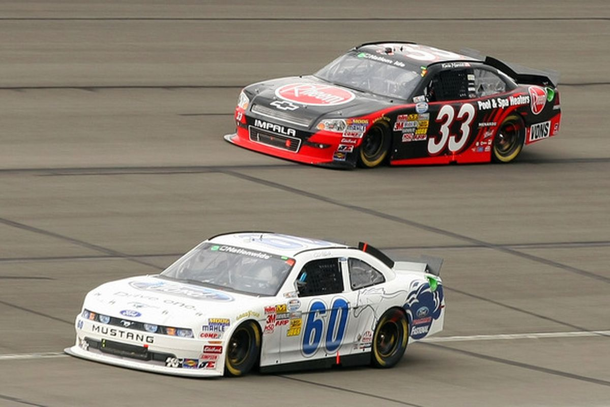 Carl Edward (60) leads Kevin Harvick during the NASCAR Nationwide Series Royal Purple 300 at Auto Club Speedway.