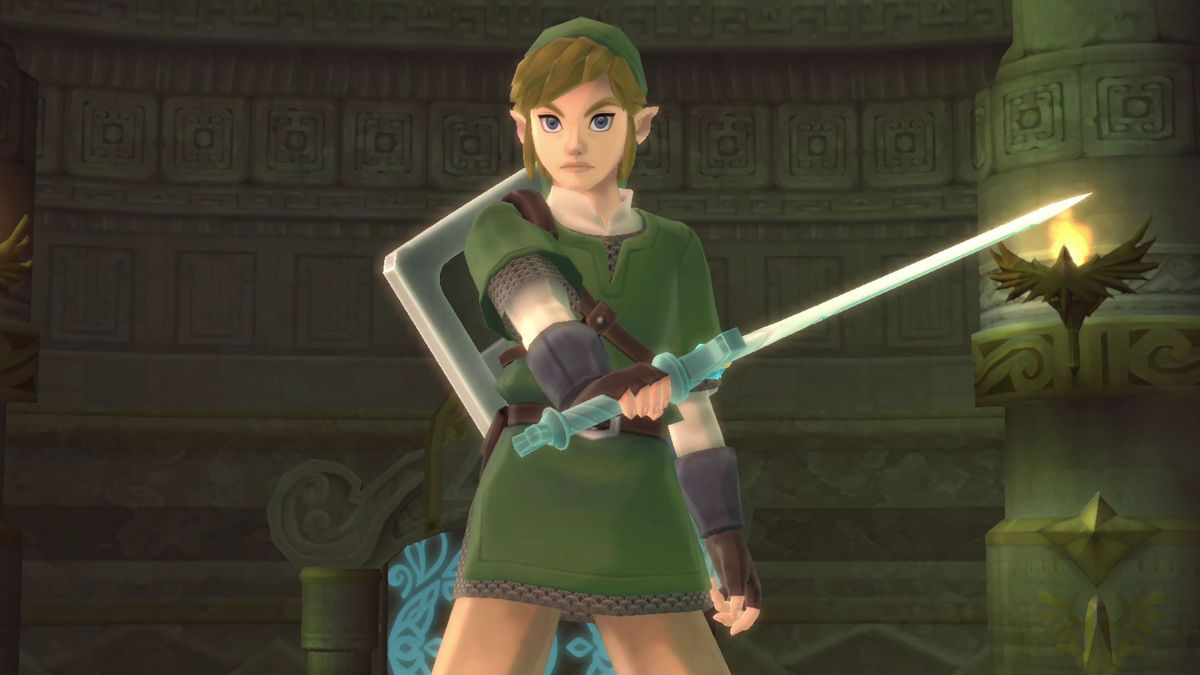 Link holds out his sword in The Legend of Zelda: Skyward Sword HD