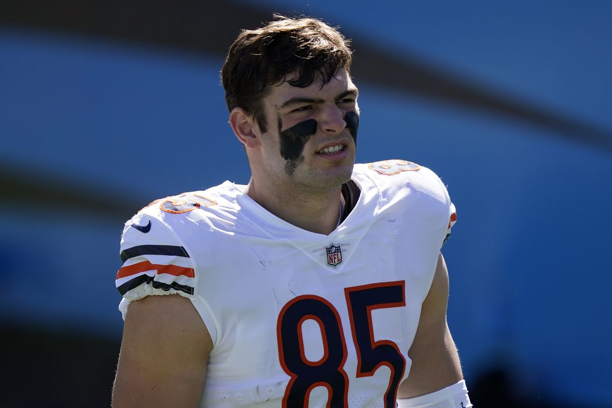 Cole Kmet caught his first NFL touchdown on Sunday.