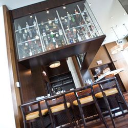 The bar added a new section with glass cases for spirits