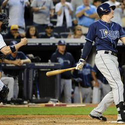New York Yankees catcher Chris Stewart pumps his fist after Tampa Bay Rays' Elliott Johnson struck out off of Yankees' Rafael Soriano for the final out in the ninth inning of a baseball game, Saturday, Sept., 15, 2012, at Yankee Stadium in New York. The Yankees won 5-3.