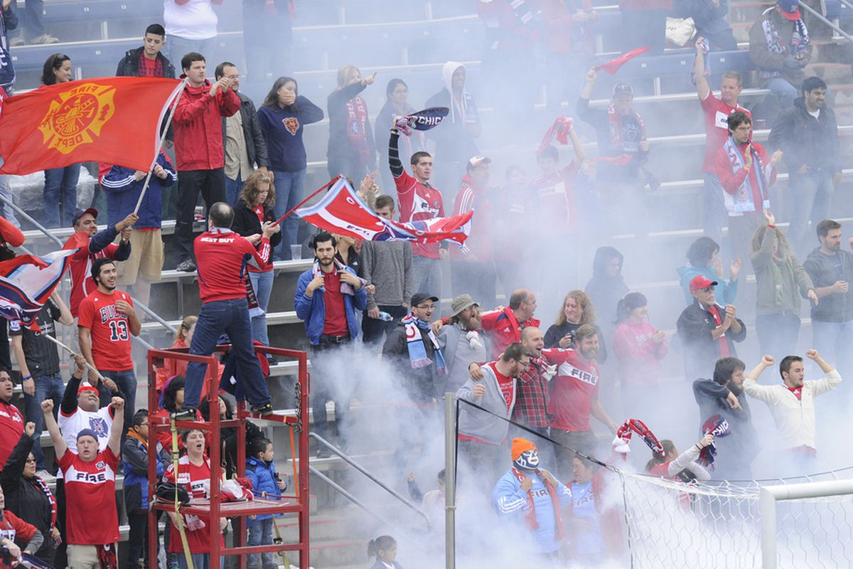 Memories of a recent celebration - Section 8 roars its approval the last time the Fire beat New England in a crucial September match at Toyota Park, a 3-2 win Sept. 25, 2011.