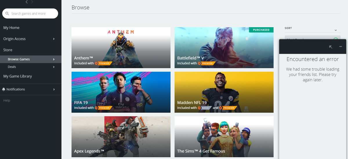 Origin Friends List bug