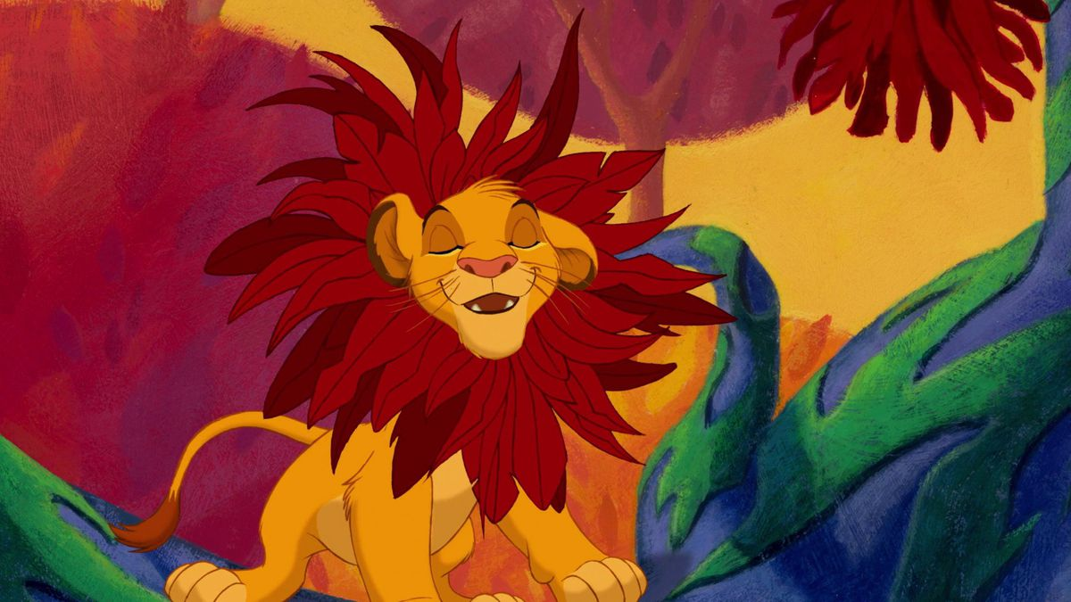 """simba with a fake mane made of flowers in The Lion King (1994), during the """"I Just Can't Wait to Be King"""" sequence"""