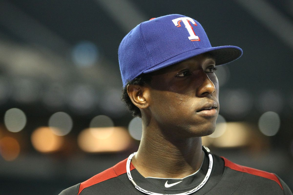 Jurickson Profar of the Texas Rangers sizes up his status as a premium prospect. (Photo by Christian Petersen/Getty Images)