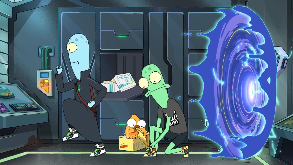 Two bald, lanky, bug-eyed animated aliens in sneakers stand with their backs to a spinning energy vortex in Solar Opposites.