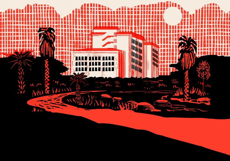 Illustration of tall buildings with trees and a road.