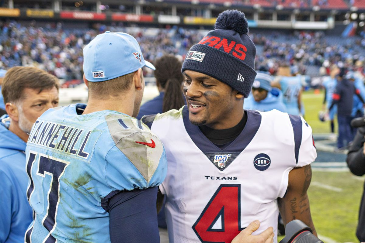 Deshaun Watson of the Houston Texans shakes hands after the game with Ryan Tannehill of the Tennessee Titans at Nissan Stadium on December 15, 2019 in Nashville, Tennessee.