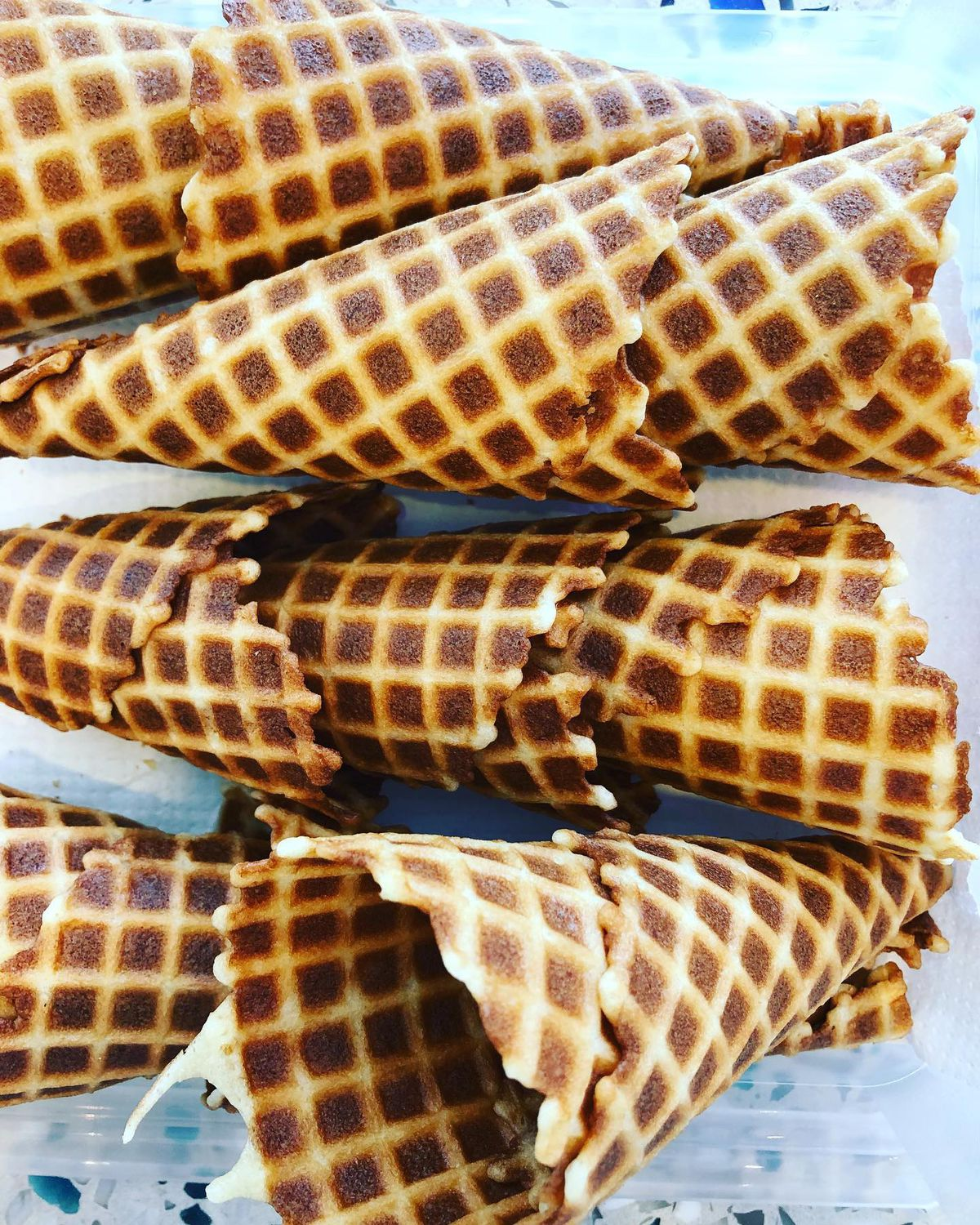 Waffle cones made by Little Tart Bakeshop