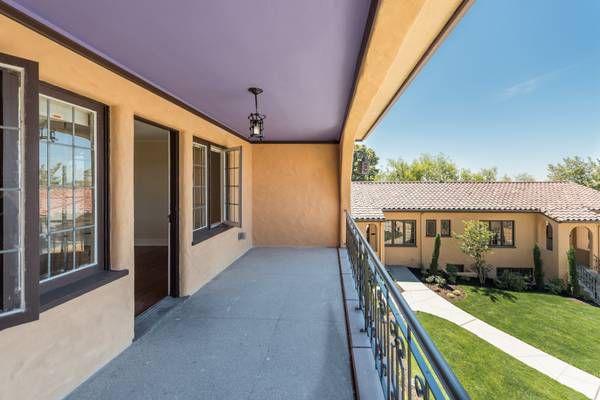 A terrace overlooking a courtyard