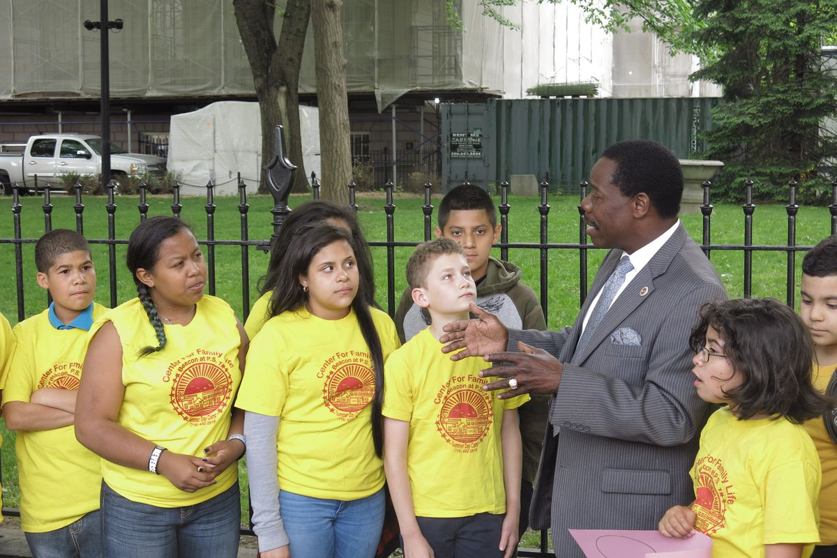 City Councilman Mathieu Eugene joined advocates and students in after-school programs on Wednesday at City Hall.