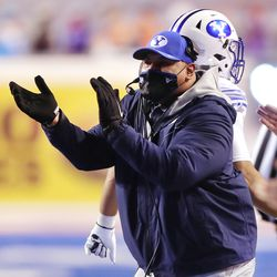 Brigham Young Cougars head coach Kalani Sitake cheers on his team as BYU and Boise State play a college football game at Albertsons Stadium in Boise on Friday, Nov. 6, 2020. BYU won 51-17.