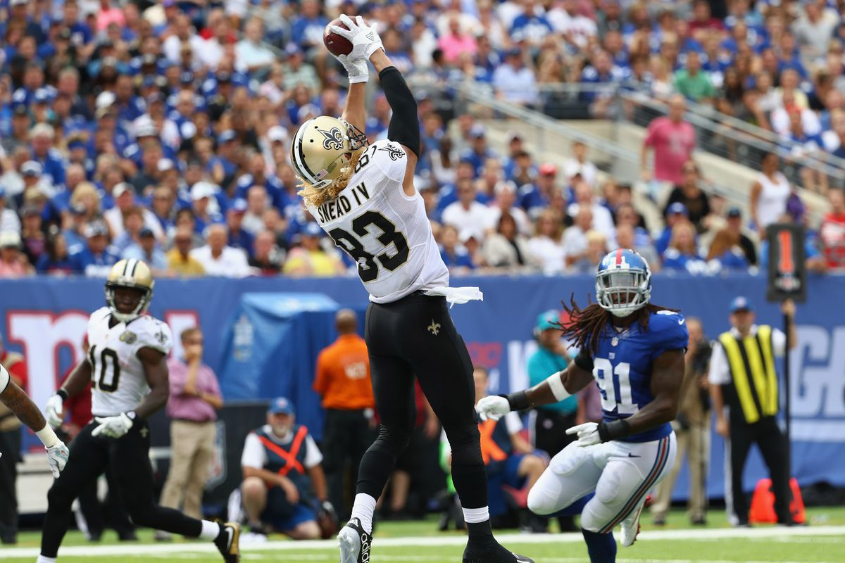 EAST RUTHERFORD, NJ: New Orleans Saints receiver Willie Snead (83) catches a 17-yard touchdown against the New York Giants defense at MetLife Stadium.