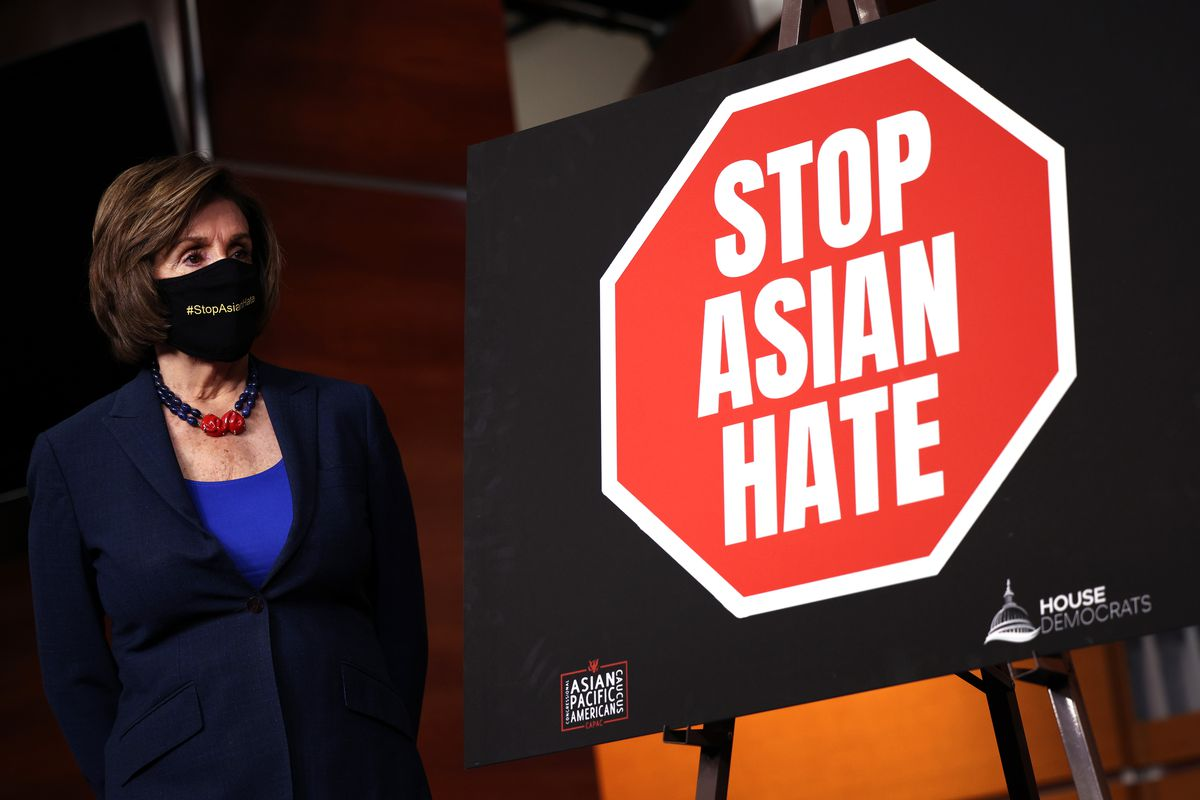 Speaker of the House Nancy Pelosi (D-CA) attends a press conference with members of the Asian Pacific American Caucus on the COVID-19 Hate Crimes Act at the U.S. Capitol on May 18, 2021 in Washington, DC. The legislation will provide resources to federal, state, and local jurisdictions to address the rise in hate crimes against the Asian American and Pacific Islander (AAPI) community since the start of the pandemic.