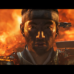 A Japanese village burns behind a lone surviving samurai.