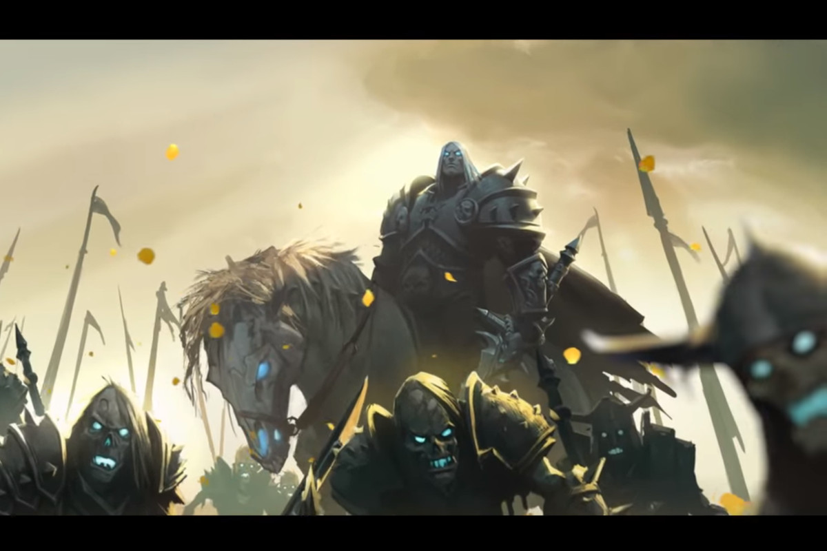World of Warcraft - a shot of Arthas and Invincible from the Warbringers: Sylvanas animated short