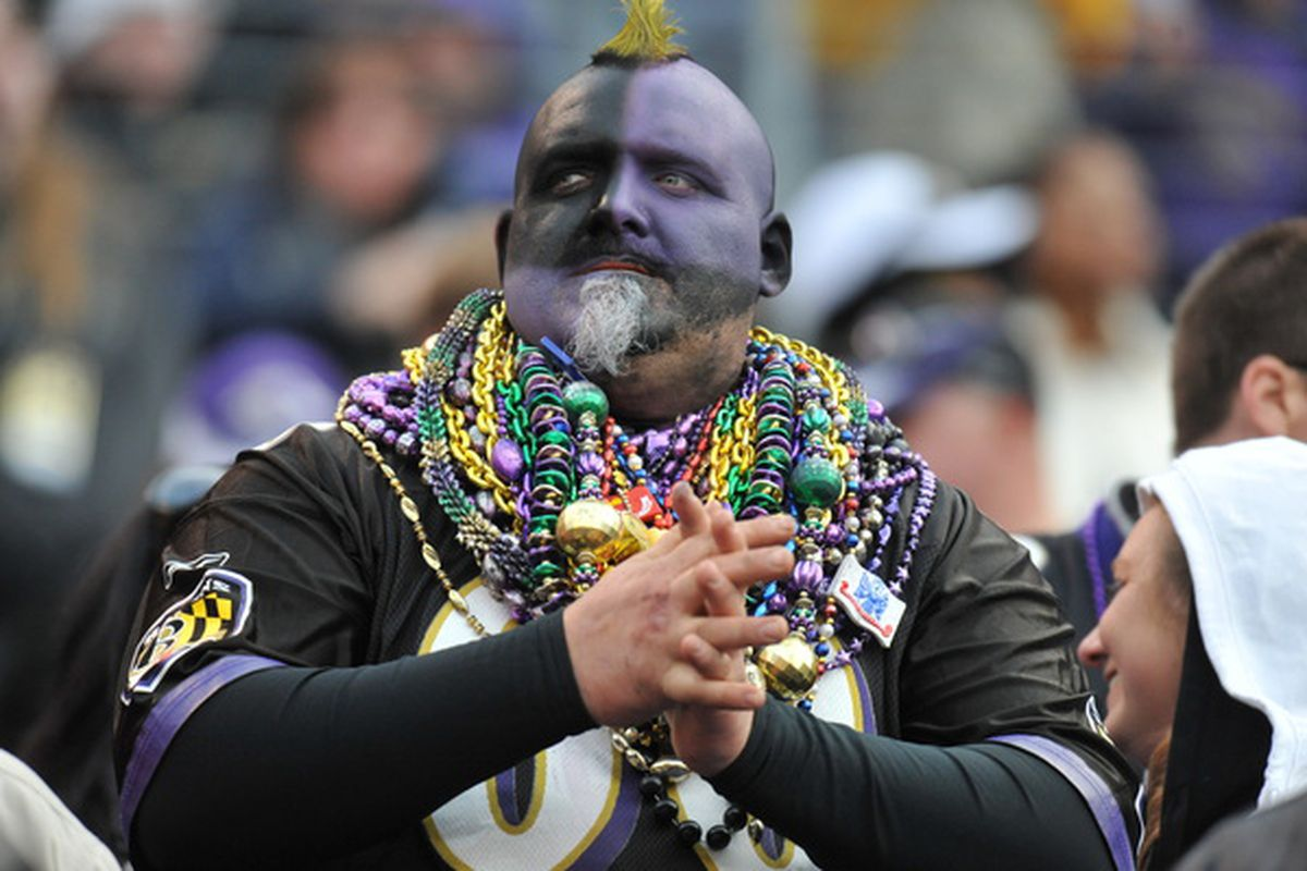 BALTIMORE MD - NOVEMBER 7:  A fan of the Baltimore Ravens cheers against the Miami Dolphins at M&T Bank Stadium on November 7 2010 in Baltimore Maryland. The Ravens defeated the Dolphins 26-10. (Photo by Larry French/Getty Images)