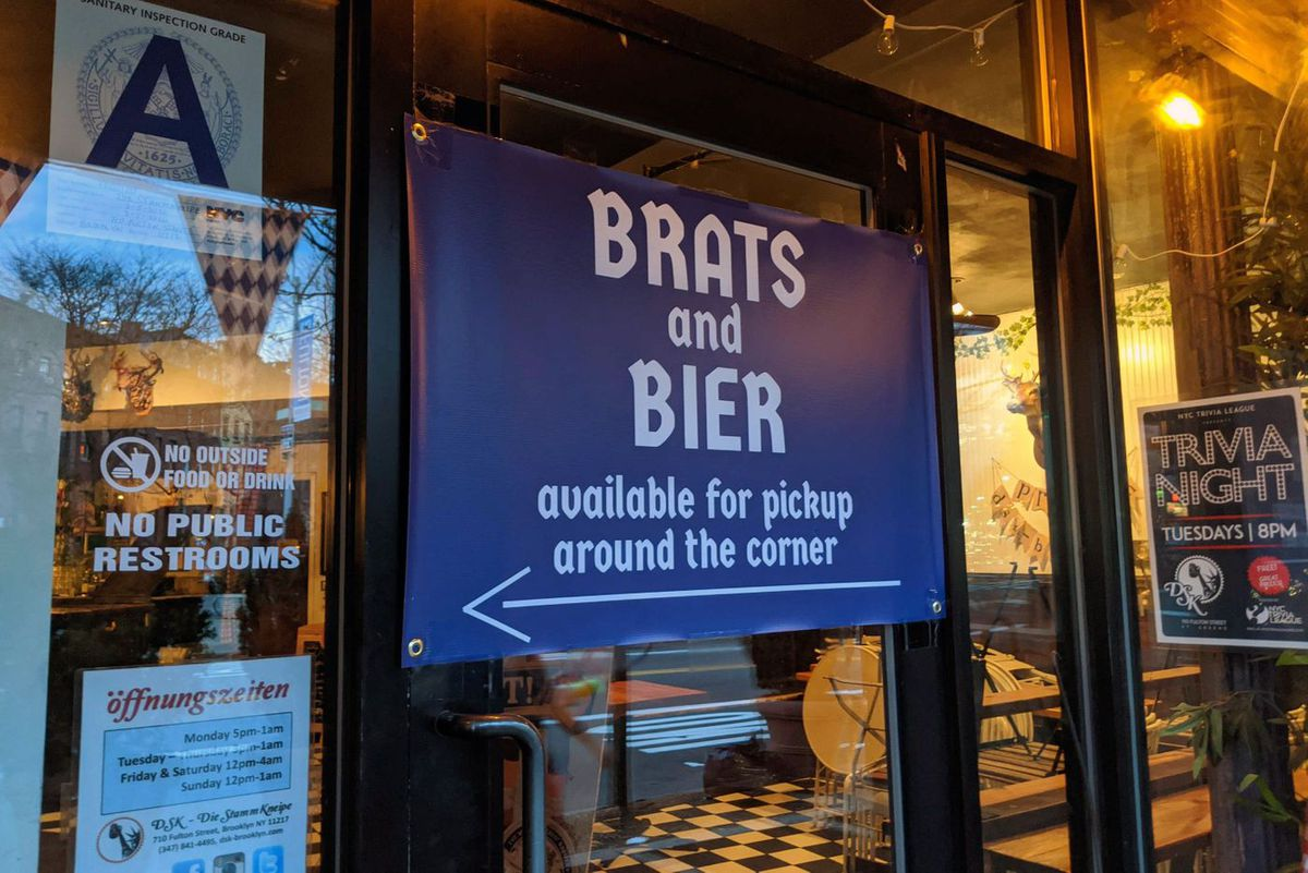 DSK beer garden in Fort Greene was still selling comfort food and brew after bars were forced to close.