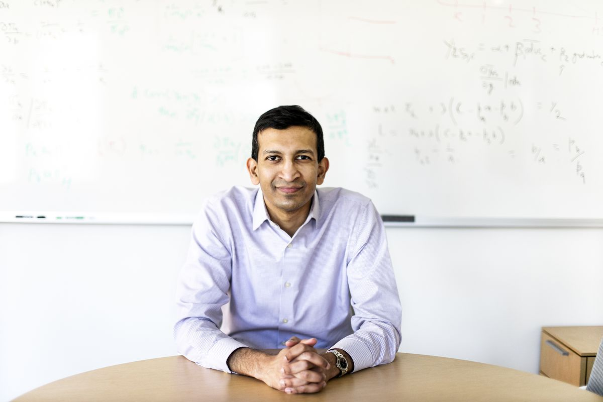 Raj Chetty poses for a portrait at the Opportunity Insights offices, part of the Department of Economics, on April 24, 2019.