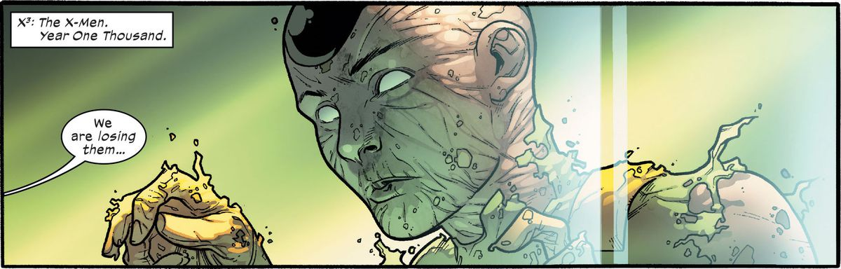 A thousand year old mutant body decays in the Library of Nimrod the Lesser in Powers of X #1, Marvel Comics (2019).