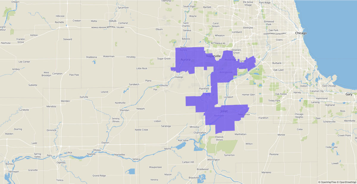11th Congressional District map, Illinois, U.S. House of Representatives