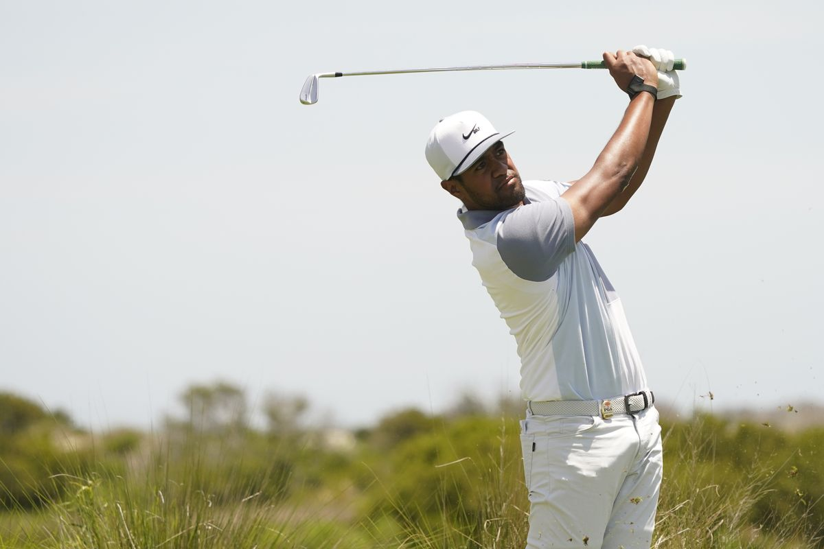 Tony Finau hits on the fifth tee during the PGA Championship's third round on May 22, 2021.